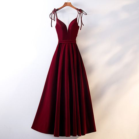 burgundy velvet long prom dress burgundy evening dress from little cute  robes de bal longues