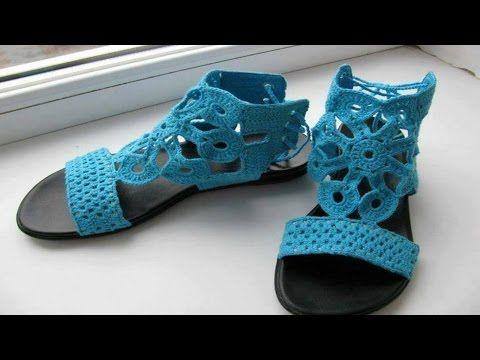 zapatos tejidos Sandalias tejidas Crochet - YouTube   calzado tejido ...