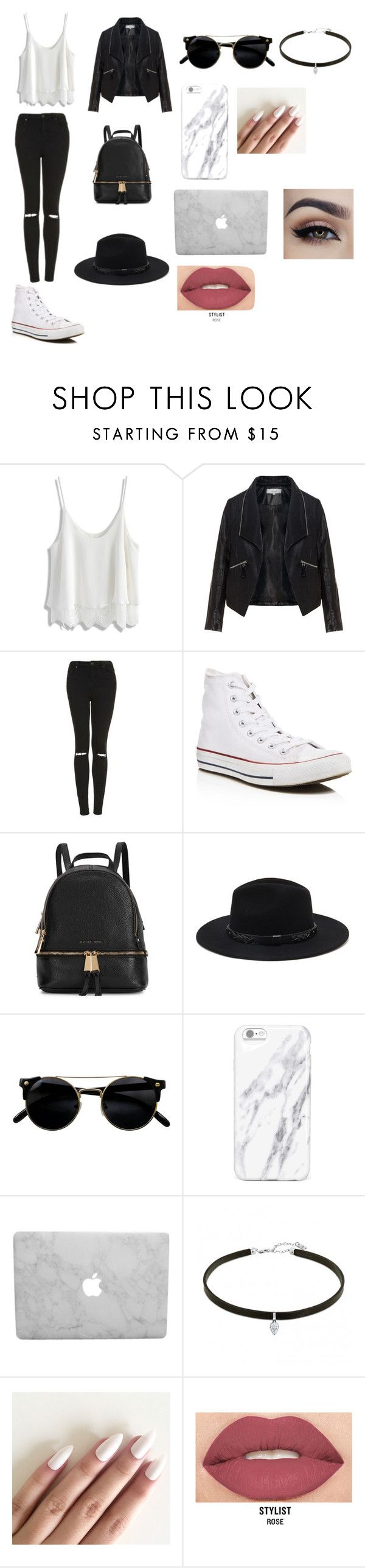 """Untitled #13"" by natashaasante on Polyvore featuring Chicwish, Zizzi, Topshop, Converse, Michael Kors, Forever 21 and Smashbox"
