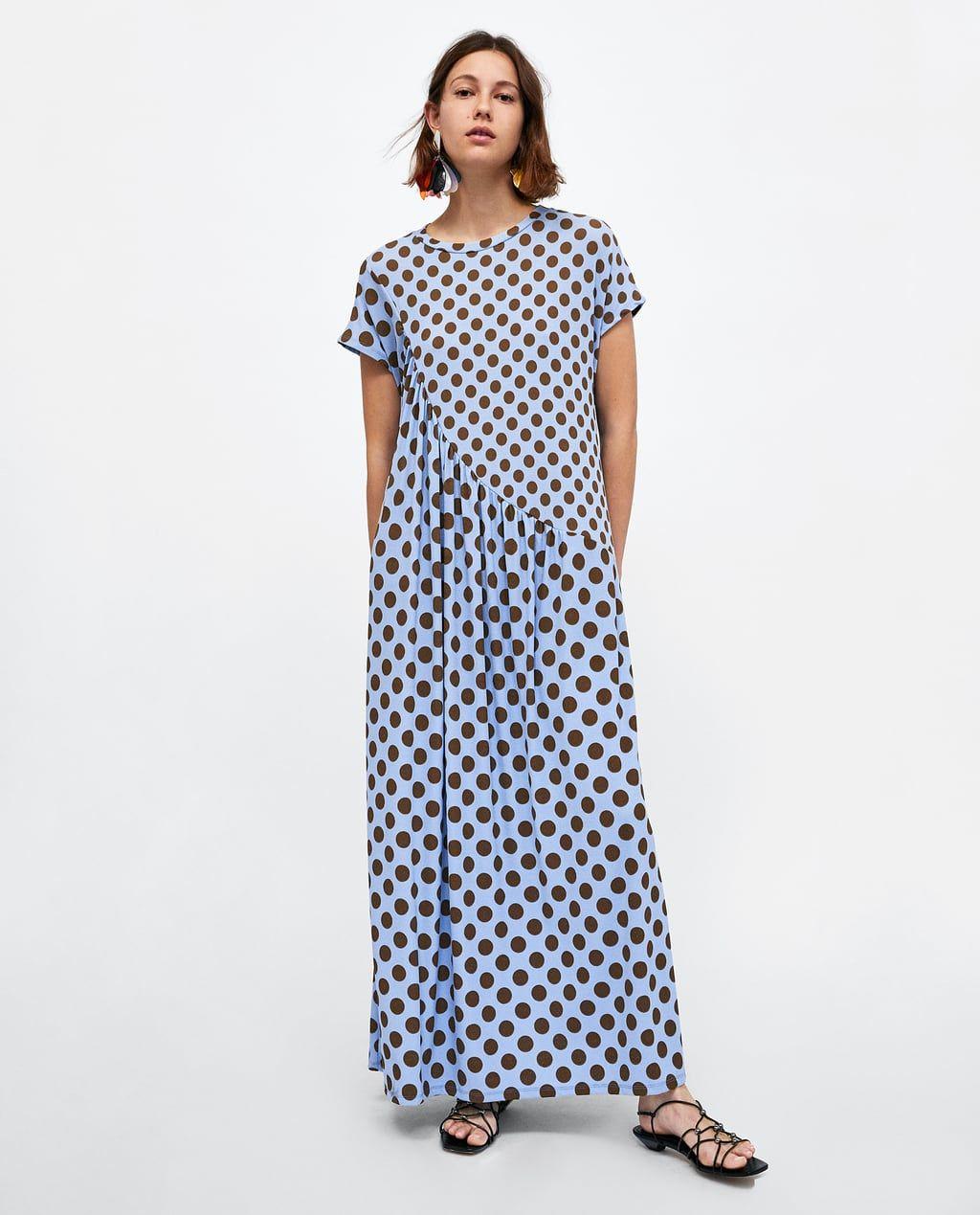40a2e8aad Image 1 of GATHERED POLKA DOT DRESS from Zara Polka Dot T Shirts