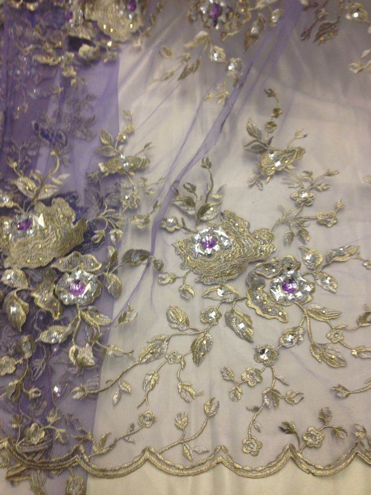 Lilac mesh w gold silver floral embroidery rhinestone lace
