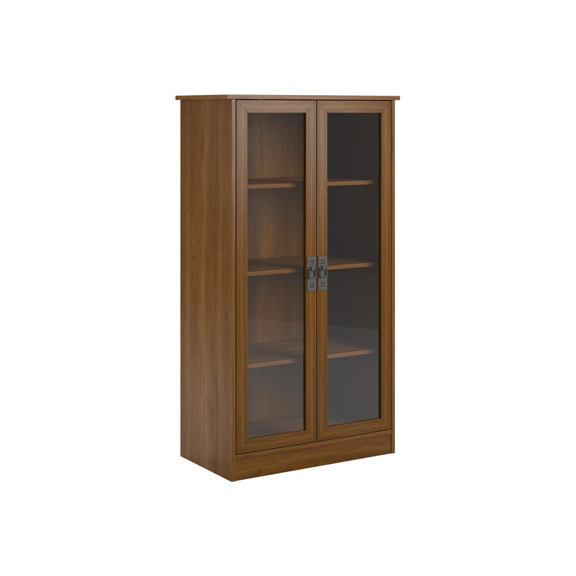 Quinton Point Glass Door Bookcase Cherry Red Altra
