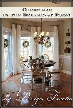 Christmas In The Breakfast Room Farm House Living Room Window Treatments Living Room Breakfast Nook Curtains