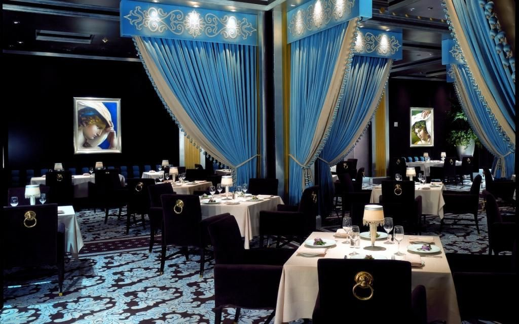 square dining tables, blue curtains and restaurant design on pinterest
