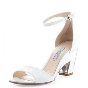 Prada White and Silver Cutout-Heel