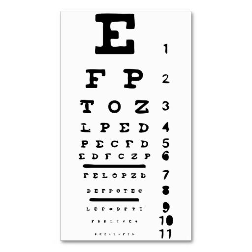 Eye Chart Vision Clinic Doctor Optician Business Business Card - eye chart template