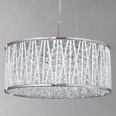 John Lewis Amp Partners Emilia Large Crystal Ceiling Light Chrome Crystal Ceiling Light