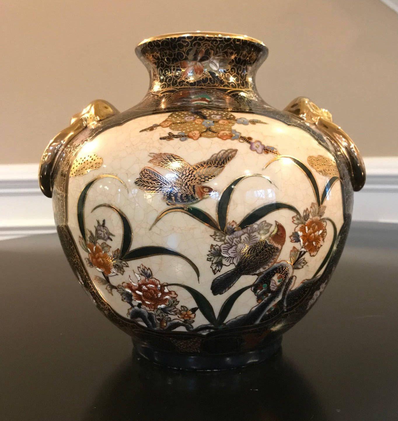 Antique nippon morimura black cream and gold hand painted vase antique nippon morimura black cream and gold hand painted vase with handles japan reviewsmspy