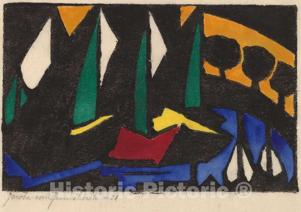 Artist: Jacoba van Heemskerck van Beest | Print: Boat and Trees | Original Medium: woodcut in black, hand colored with watercolor, on japan paper
