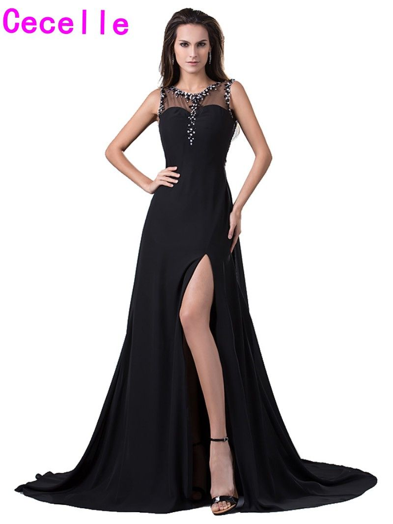 Click to buy ucuc classic see through back slit beading chiffon