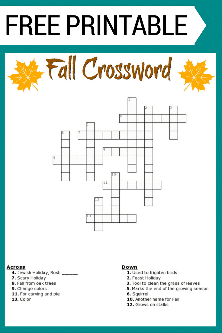 Free Fall Crossword Puzzle Printable Worksheet Available With And