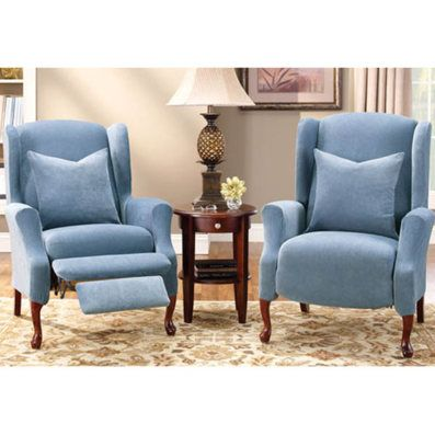 Stretch Pique Wing Chair Recliner Cover Places