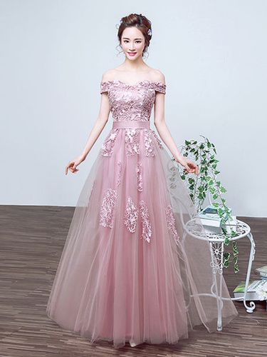 ad9cef5bc3f Long Prom Dress Tulle Off The Shoulder Party Dress Cameo Pink Lace Applique  A Line Ankle Length Occasion Dress