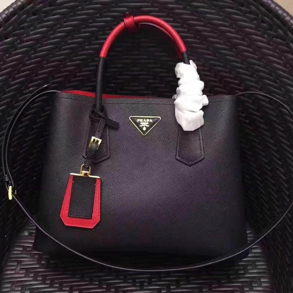 7324e2602a0f Prada 1BG775 Two-Tone Saffiano Leather Double Bag Black Red 2017 ...