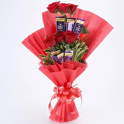 Chocolate Bouquet with 6 Red Roses Chocolate Bouquet with 6 Red Roses 6 Red Roses 6 Cadbury Dairy Milk Chocolates