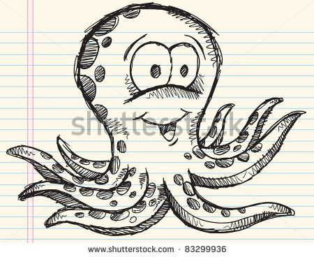 Notebook Sketch Doodle Drawing Octopus Vector Illustration Art Design