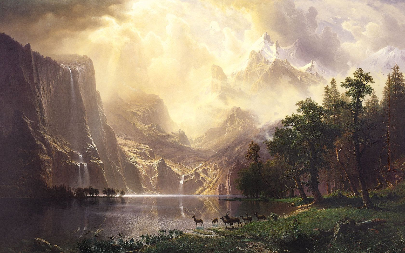 Paintings Well-Educated Albert Bierstadt Nevada Falls Artist Painting Reproduction Handmade Canvas Repro Rich And Magnificent