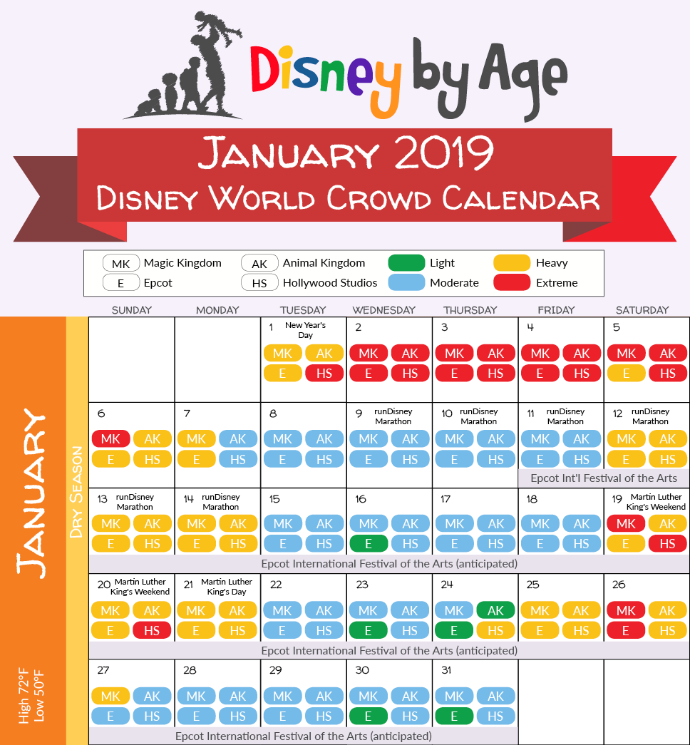 Disneyland January 2019 Crowd Calendar January 2019 Disney World Crowd Calendar | Disney trip in 2019