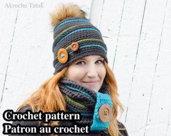 bce75aeb6653 Ensemble igloo patron au crochet par Akroche Tatuk (français et anglais).  Tuque bonnet cache-cou au crochet pour l hiver enfant et adulte.