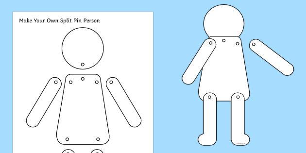 Blank Split Pin Person Template  Blank Split Pin Person People