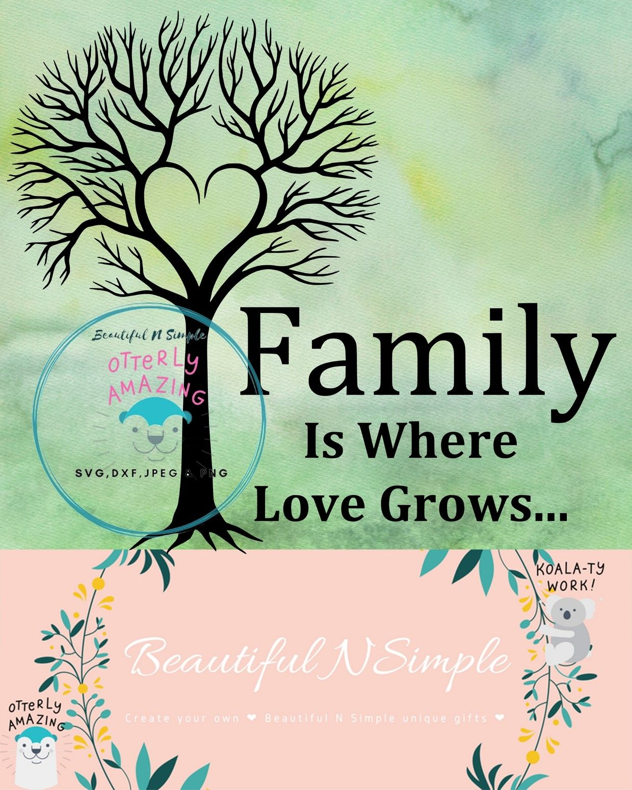 Family Is Where Love Grows Family Tree Svg Dxf File Family Tree Cricut Explore Air Tree Svg