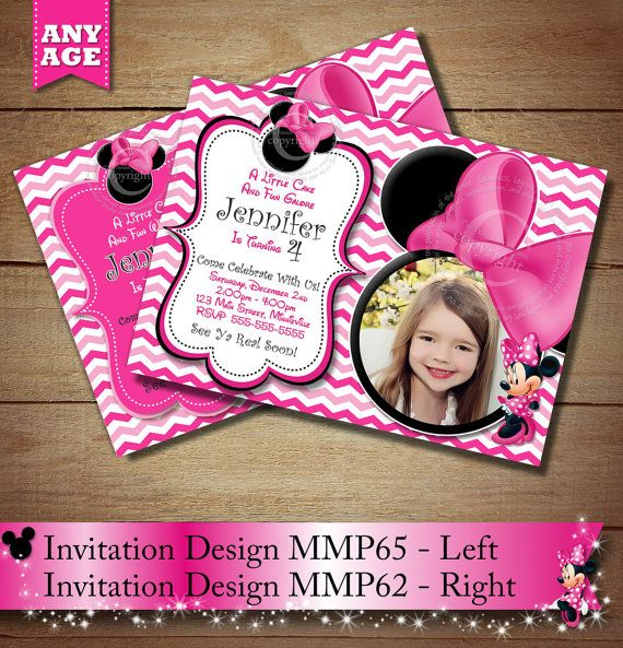 Pink Chevron Minnie Mouse PRINTABLE Birthday Invitation DIY - Minnie mouse birthday invitation message