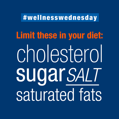 Limit cholesterol, sugar, salt and saturated fats in your diet for a healthier lifestyle. #wellnesswednesday