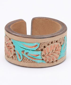 This Green & Brown Leather Boho Cuff Bracelet by Pavcus Designs is perfect! #zulilyfinds