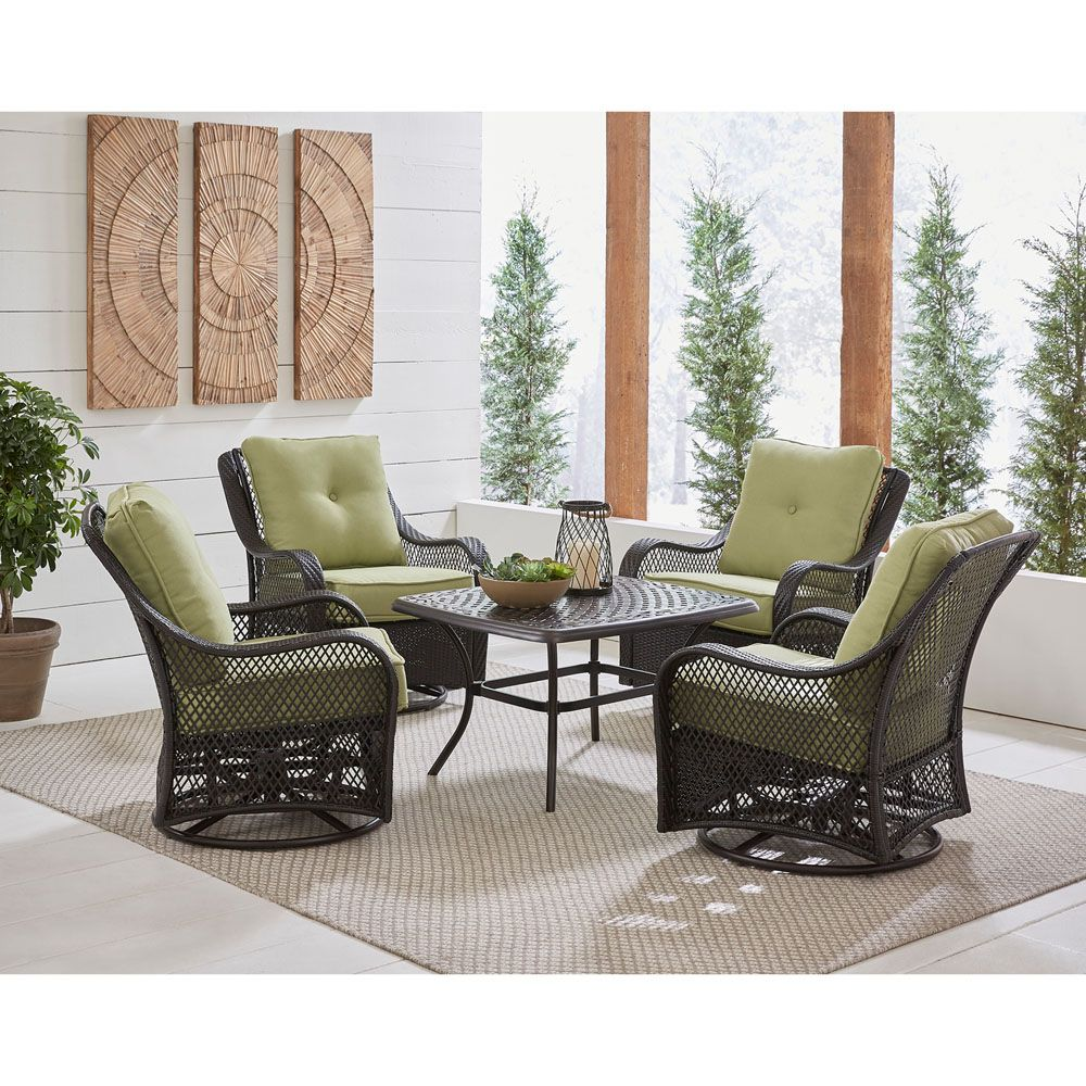 Hanover Orleans 5 Piece Patio Chat Set In Avocado Green With 4