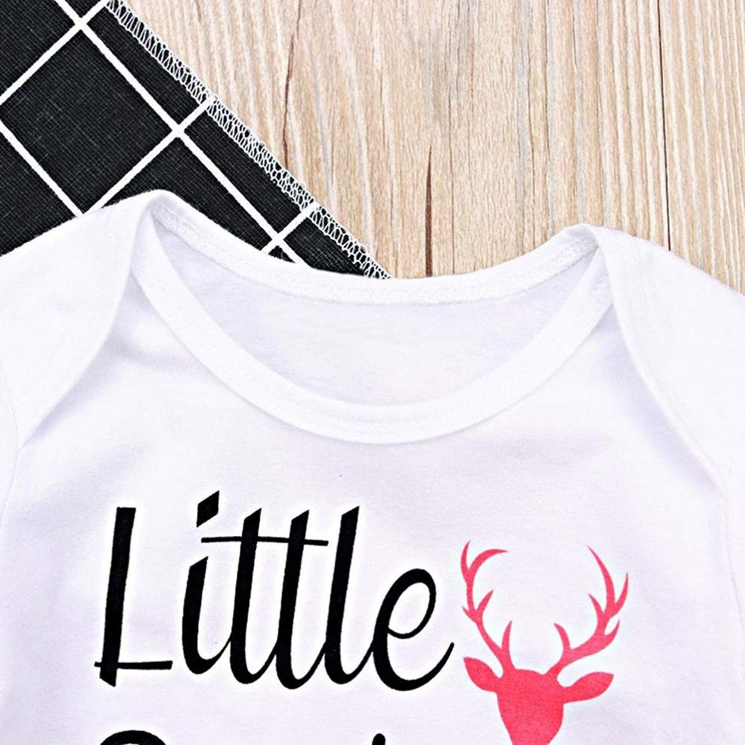 0b30d8530ac2 Newborn Baby Girl Christmas Outfits Little Sister Romper Elk Pattern Pants  Elk Hat Headband Autumn Winter 4Pcs Xmas Outfits Set White 03 Months    You  can ...