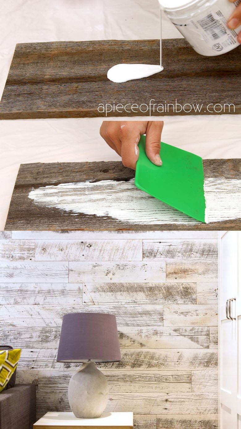 Easy tutorial & video on how to whitewash wood to create beautiful farmhouse white washed floor, shiplap wall & furniture on pine, pallet or reclaimed wood! – A Piece of Rainbow #shiplap #farmhouse #farmhousestyle #farmhousedecor #painting #paintedfurniture #shabbychic #vintage #rustic #rusticdecor #pallets #chalkpaint #homedecor #diy #diyhomedecor #livingroom #wood #woodworking #diy #homedecor DIY home decor ideas, #diyhomedecor #farmhouse #vintage #farmhousestyle Vintage, shabby chic