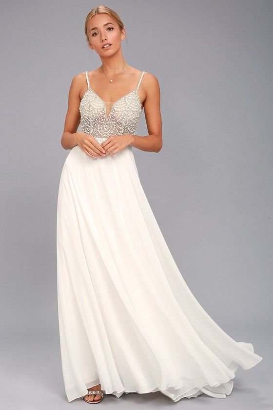 516328f8da9aa True Love White Beaded Rhinestone Maxi Dress in 2019 | fashion ...