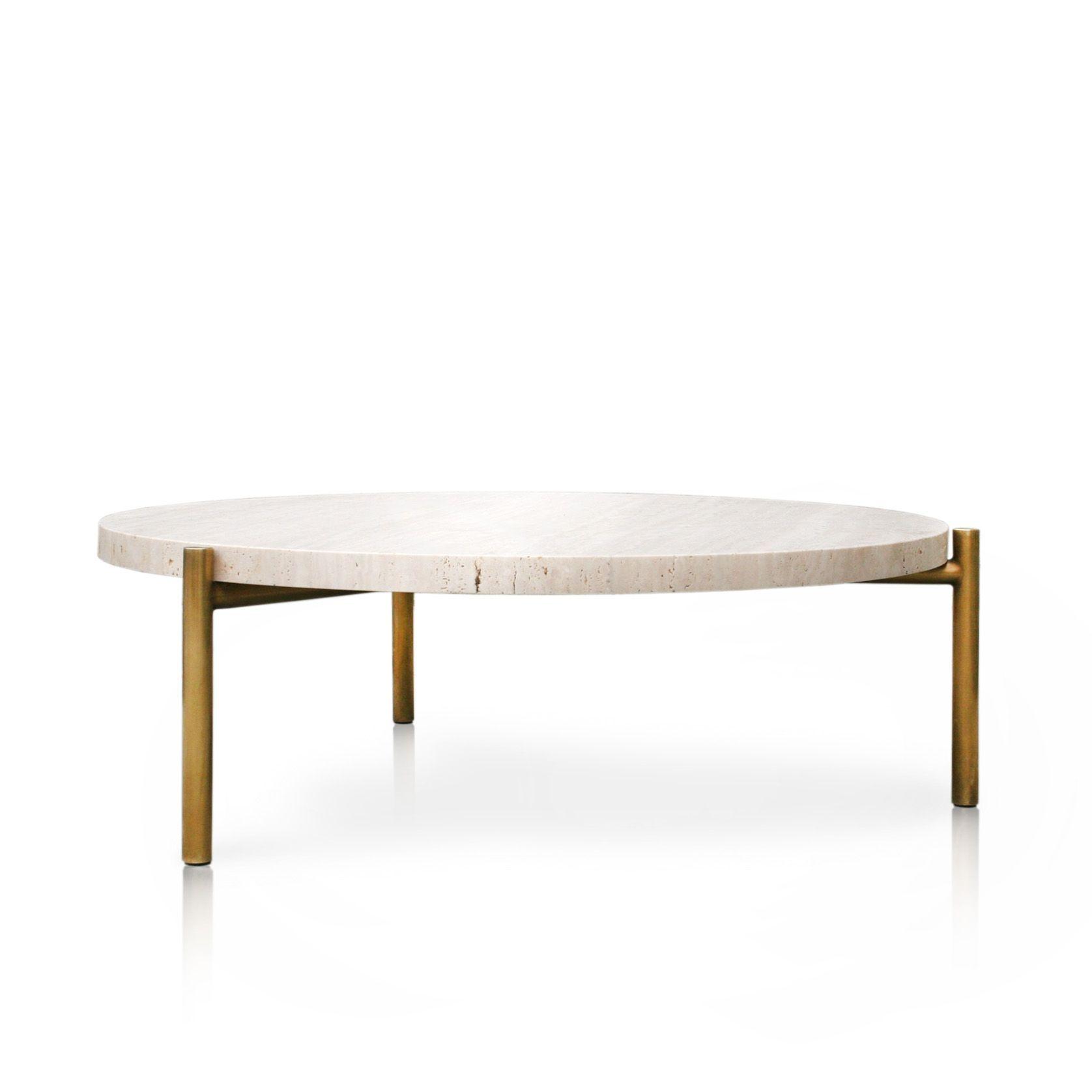 Travertine C Table 3 Leg Brass 40 Inch Coffee Table Travertine Coffee Table Home Coffee Tables [ 1676 x 1676 Pixel ]