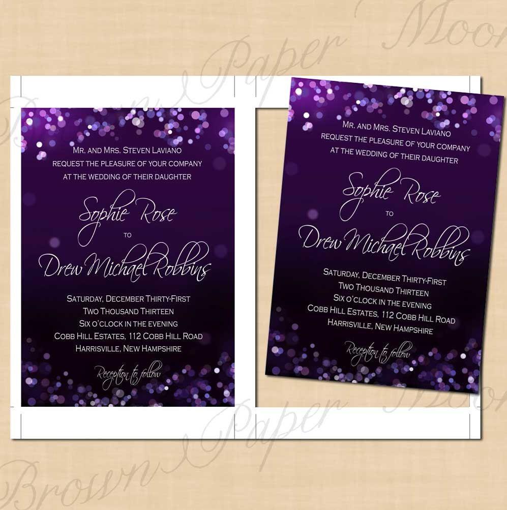 Purple Night Sky Text Editable Wedding Invitations Portrait
