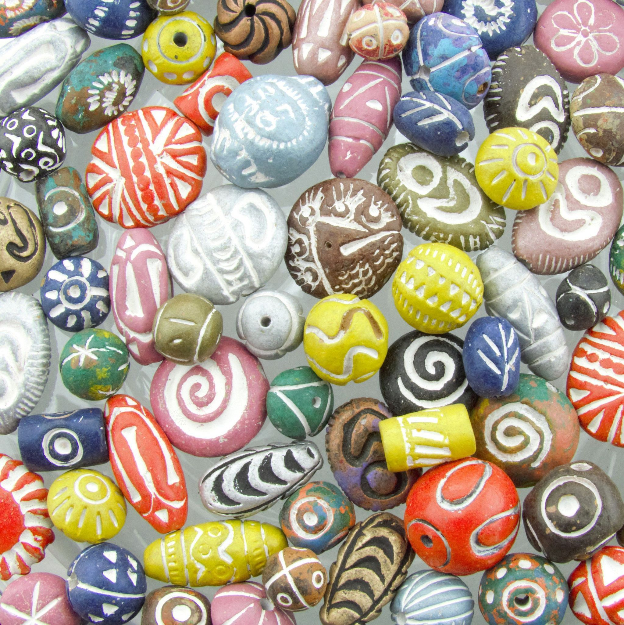 28mm to 8mm (2mm Hole) Assorted Shapes and Sizes Color Mixed Clay Beads - 100 Grams (AS5)