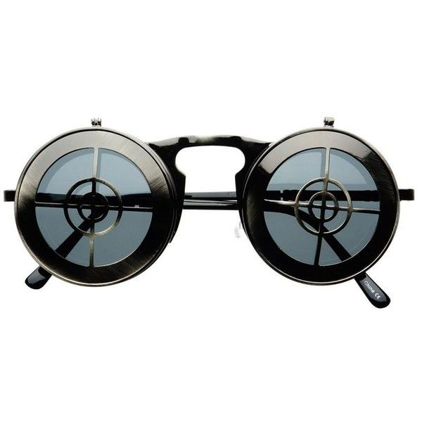 Steampunk Fashion Vintage Flip Up Lens Metal Round Sunglasses r1950 (1.435 RUB) ❤ liked on Polyvore featuring accessories, eyewear, sunglasses, round frame sunglasses, vintage glasses, metal-frame sunglasses, steampunk glasses and steampunk sunglasses