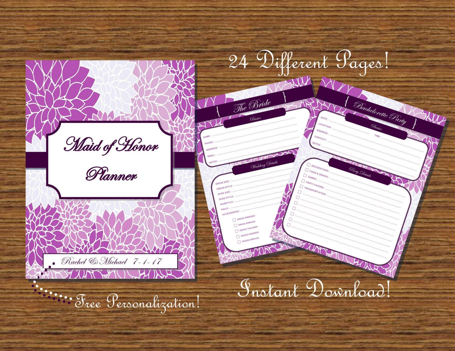 image about Maid of Honor Printable Planner named Maid of Honor Planner / Organizer - Floral Printable by way of