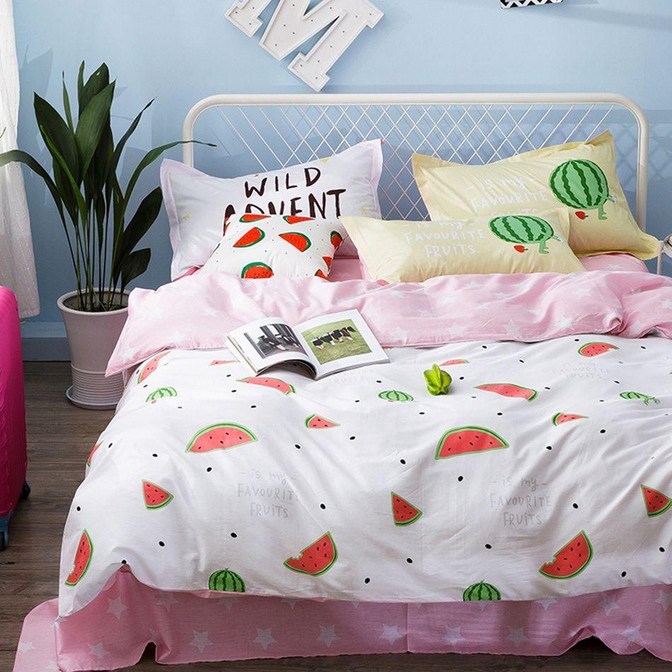 Pink Stars Bed Sheets Fruit Pattern Duvet Cover Set 100 Cotton Bedding For Children Watermelon Quilt Covers Pillow Case