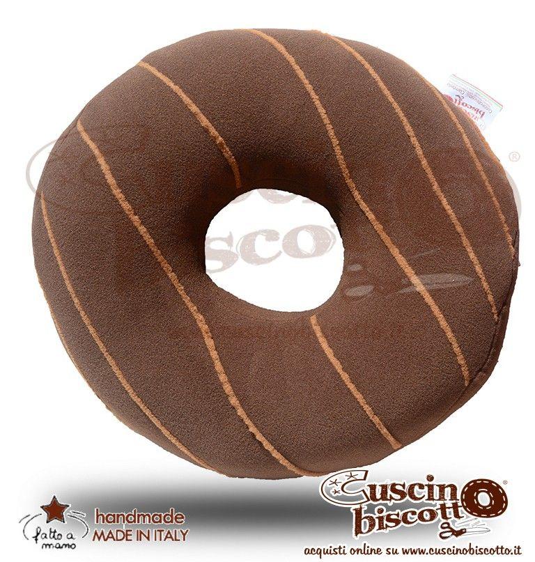 Cuscino Biscotto - Ciambella Glassata / Donuts Marrone con Mou (Fatto a mano in Italia)