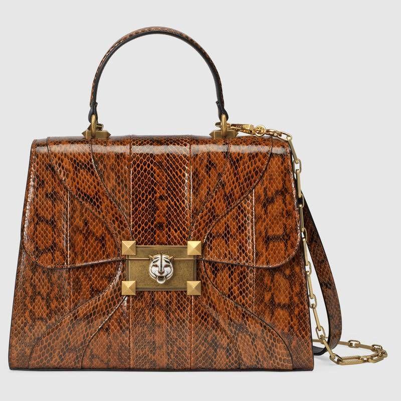 c0f7ca60687 Gucci Osiride medium snakeskin top handle bag
