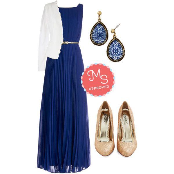 In this outfit; Dancing in Romance Dress in Blue, Detour De Jour Blazer, Delft of Possibilities Earrings, Sparkle an Interest Heel #sparkleheels #pleats #blazer
