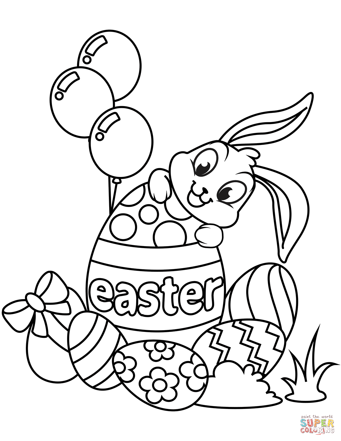 Cute Easter Bunny And Eggs Coloring Page Free Printable Coloring Pages Easter Bunny Colouring Easter Coloring Book Easter Coloring Sheets