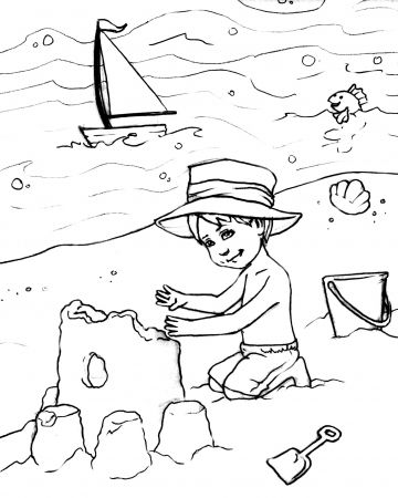 Boy On The Beach Coloring Page With Images Bear Coloring Pages