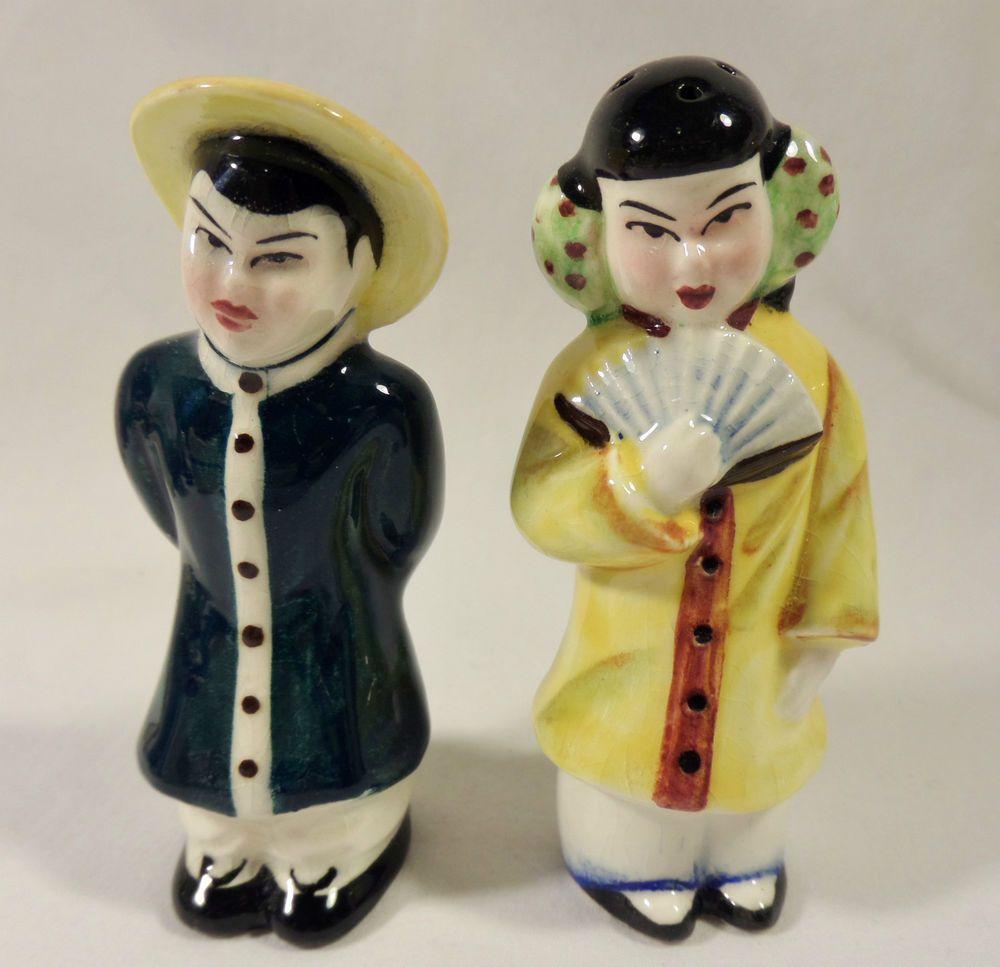 Vintage Japanese Couple Salt & Pepper Shakers -  very nice