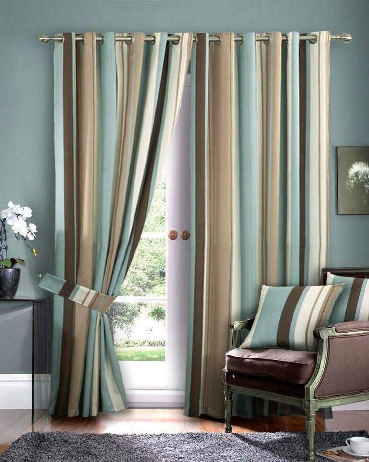 Beautiful Blue And Brown Curtains Curtain Pinterest Striped Curtains Brown Curtains And Brown