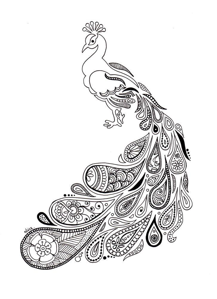 Paon au plumage paisley - Alice Gerfault, dessins & créations ...