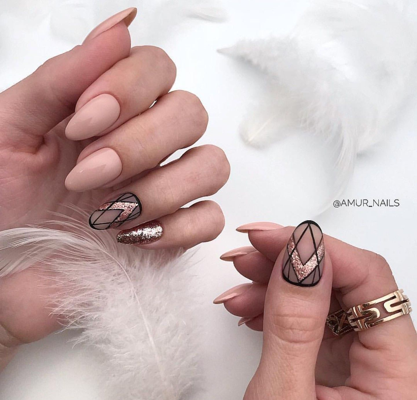 Beige Pink And Matte Negative Space Nails With Black Borders And Rose Gold Accents Re Pinned By B Gold Nail Designs Graduation Nails Rose Gold Nails Design