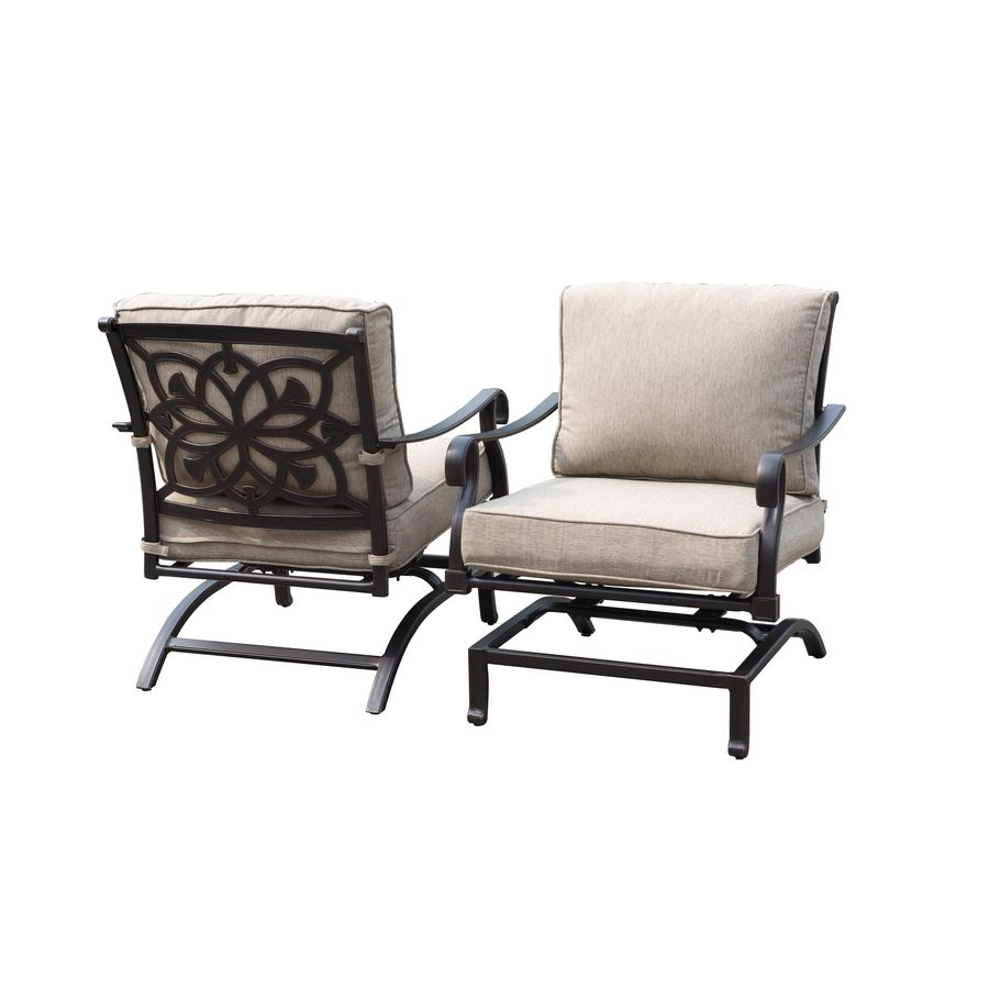 Allen Roth Ebervale Aged Bronze Aluminum Rocking Patio Conversation Chairs With Tan Solartex Cushions