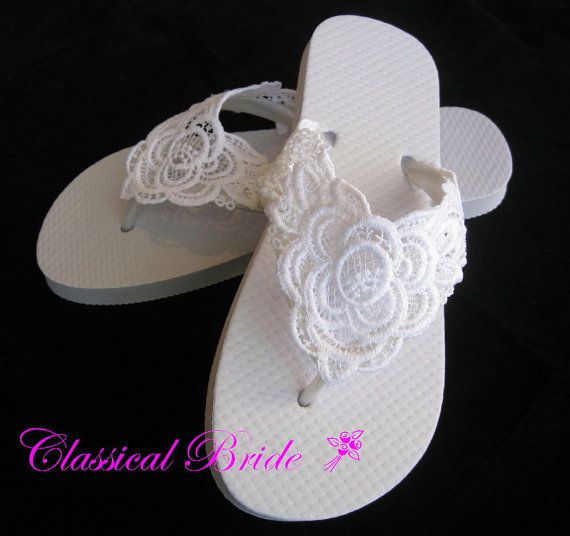 31c29d095d5199 LACE EMBROIDERED Wedding Bridal Flip Flops in Ivory or White for Wedding  Party Bride Bridesmaid Maid of Honor Beach Flip Flops Sandals Shoes on  Etsy