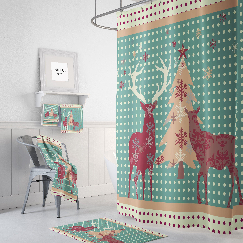 Deer Christmas, Shower Curtain, Country Woodland, Bath Mat, Towels